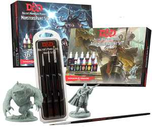 The Army Painter | Dungeons and Dragons Nolzur's Marvelous Pigments Bundle | 46 Acrylic Paints, 4 Brushes and 2 Miniatures | for Roleplaying, Boardgames, Wargames Miniature Model Painting
