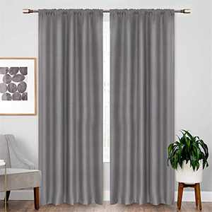 "Dreaming Casa Grey Thermal Insulated 100% Blackout Curtains Bedroom, Full Room Darkening Noise Reducing Rod Pocket Window Curtain Living Room Set of 2 Panels 52"" W x 96"" L"