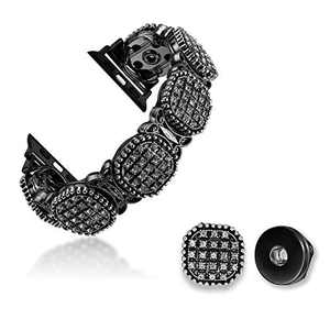 TILON Fashion 2 in 1 DIY Apple Watch Band Compatible for Apple Watch 42/44mm Series 5 4 3 2 1, Adjustable Handmade Luxury Beaded Bracelet with Removable Charms Ladies/Girls-Midnight Black