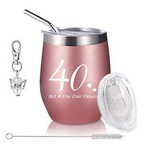 40th Birthday for Women, Wine Tumbler with Funny Saying,Not A Day Over Fabulous,12oz Insulated Stemless Wine Glasses with Sliding Lid and Straw, Funny Wine for Her (Rose Gold) ¡