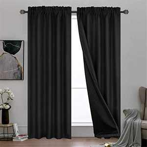 """Dreaming Casa 100% Blackout Curtains Bedroom, Black Double Layer Full Light Blocking Curtain, Rod Pocket Thermal Insulated Drapes with Liner Living Room Set of 2 Panels 52"""" W x 96"""" L"""