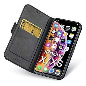 Aunote iPhone Xs Case, iPhone X Phone Case, Slim Flip/Folio Cover – Wallet Style: Made of PU Leather and TPU Inner (Lightweight, Feels Good) Full Protection for Apple iPhone 10/X/XS. Black