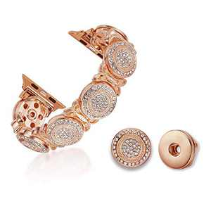TILON Stylish 2 in 1 DIY Apple Watch Band Compatible for Apple Watch 42/44mm Series 5 4 3 2 1, Adjustable Handmade Bling Replaceable Snaps Bracelet Dressy for Ladies/Girls-Faux Crystal Round