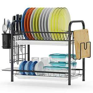 Dish Drying Rack, GSlife Stainless Steel 2 Tier Dish Rack with Tray, Utensil Holder, Cutting Board Holder, Rustproof Dish Drainer for Kitchen Counter Top, Black
