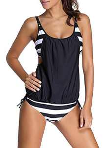 Zecilbo Womens Casual Strips Sporty Double Up Tankini Top Swimsuit Set Black XX-Large 18 20