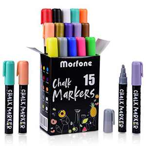 Liquid Chalk Markers, Morfone Markers 15 Colors with 32 Chalkboard Labels for Blackboards Window Mirror Bistro Erasable Pens 6mm Reversible Bullet and Chisel Tip
