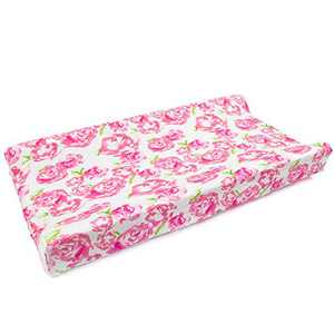 Comfy Changing Pad Covers for Newborn Baby Boys Girls Ultra Soft Unisex Infants Floral Diaper Changing Pad Sheets