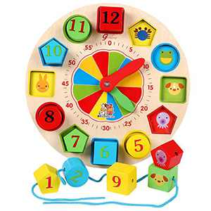 FANSUSENKE Preschool Shape Sorting Clock Wooden Kid Teaching Learning Clock Early Educational Toys Clock with Numbers & Shapes Games Gifts for Kids Boys Girls 3, 4, 5 Years Old , Teaching Time Number