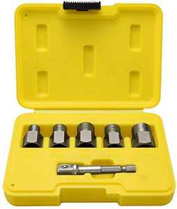Topec 5+1 Pieces Impact Bolt & Nut Remover Set, Nut Extractor Socket Include Hex Adapter, Bolt Remover Tool Set for Removing Rusty Nut