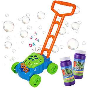 MOZOOSON Gifts for Kids, Bubble Machine Bubble Mower for Toddlers, Kids Bubble Lawn Blower Machine with 2x118ml Bubble Solutions, Outdoor Toys Gifts for 3 4 5 6 7 8 Kids Girls Boys