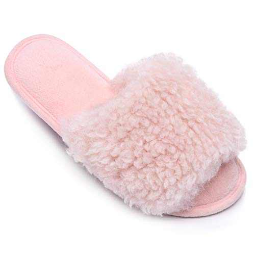 DL Womens Open Toe Slippers, Memory Foam House Slippers Indoor Bedroom with Furry Fur, Cozy Non-Slip Home Shoes for Women Pink 5-6