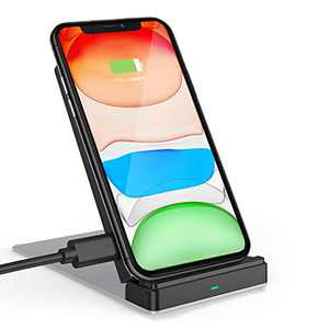 FutureCharger Wireless Charger Ultra-Thin Wireless Charging Stand Qi-Certified Wireless iPhone Charger Fast Wireless Charging Pad for iPhone 12/11/11 Pro Max/Samsung S10 S9 S8/AirPods(with AC Adapter)