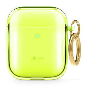 elago Clear Airpods Case with Keychain Designed for Apple Airpods 1 & 2 (Neon Yellow)
