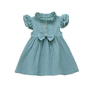 Salmoph Toddler Baby Girl Infant Cotton Linen Dress Solid Pleated Button Pocket Princess Dresses Sundress