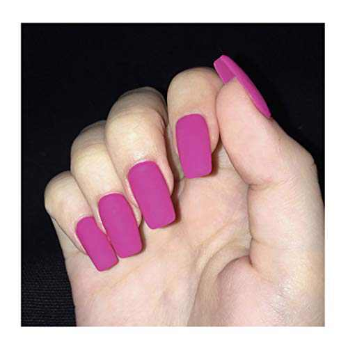 Fstrend Punk Fake Nails Pink Full Cover Aryclic Square Long False Nails Daily Date Matte Press on Nail for Women and Girls(24pcs)