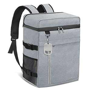 Insulated Cooler Backpack Leak-Proof Waterproof Large Capacity Backpack Cooler 45 Can Cooler Bag Lightweight Soft Beach Cooler for Men Women to Work, Picnic, Hiking, Camping (Gray)