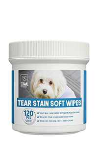 PUPMATE Tear Stain Remover Wipes for Dogs & Cats, Extra Moist and Natural Wrinkle Wipes for Pets, 120 Cotton Pads, Unscented Eye Wipes