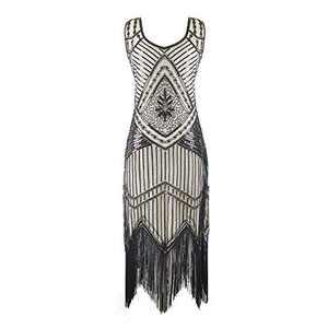 ZIB Women's 1920s Vintage Flapper Dress Beaded Fringed Gatsby Party Sequin Dress Beige