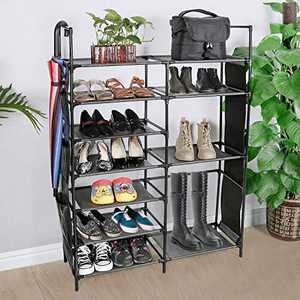 JOSHNESE 7-Tier Shoe Rack, 22-25 Pairs Non-Woven Fabric Shoe Storage Organizer, Sturdy Shoe Shelf for Entryway, Closet, and Bedroom (Black)