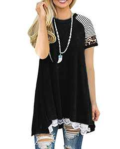 Rdfmy Women's Lace Short Sleeve Tops Casual Round Neck Stripe Top Blouses Black M