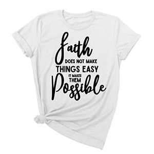 Koodred Women's Summer Casual Loose Faith Letter Print Graphic Cotton Short Sleeve Round Neck Tees T-Shirts Tops White