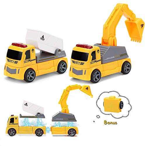 Magnetic Construction Car Pickwoo DIY Assembled Car Sets for Kids STEM Magnetic Toys for Kids Excavator, Tipper and DIY Assembled Construction Vehicle Set (P311 Excavator+Tipper)
