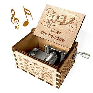 Over The Rainbow Music Box - Wood Laser Engraved Vintage Hand Cranked Cute Boxes Best Unique Gifts for Valentine's Day/Wedding Day/Birthday