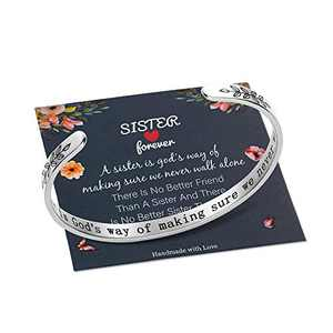 M MOOHAM Sister Gifts from Sister, Sister Bracelet Gifts for Sister Birthday Christmas Sister Jewelry, a Sister is God's Way of Making Sure We Never Walk Alone