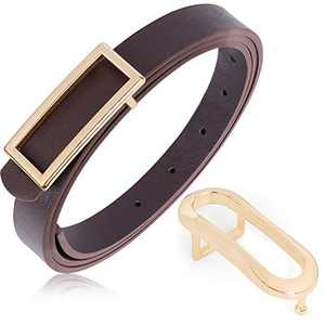 Women Skinny PU Leather Thin Belt with Gold Buckle Fashion Soft Ladies Waist Belts for Dress Jeans Pants, Coffee, Fit Waist 24-28 Inch