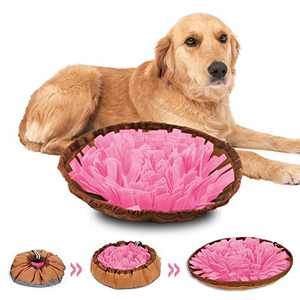 COPACHI Snuffle Mat, Slow Feeding Mat for Dogs, Pet Puzzle Treat Mat, Encourage Natural Foraging Skills and Nose Work Training, Machine Washable (Pink)
