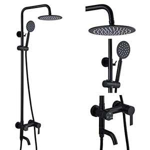 gotonovo Shower Fixture Wall Mount Matte Black SUS 304 Stainless Steel Triple Function with Hand Sprayer and Tub Spout 8 Inch Rainfall Shower Head Shower faucet Set Bathroom Complete Set
