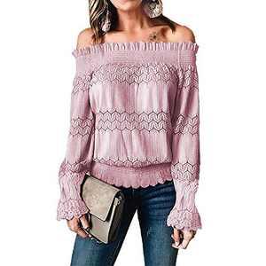Exlura Womens Off The Shoulder Blouse Tops Lace Crochet Ruffle Bell Long Sleeve Shirt Pink