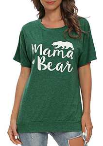 Gognia Women's Mama Bear Short Sleeve T Shirt Casual Loose Patches Tunics Top Blouse Green S
