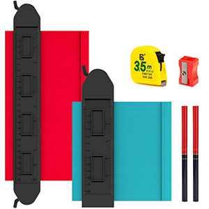 "Contour Gauge with Lock 2 Pack - 6pcs DIY Tools Kit with 10"" and 5"" Extra Wide Shape Contour Gauge Duplicator 2 Pencil 1 Pencil Sharpener 1 Tape Measure Contour Gauge Profile Tool for Corner & Contour"