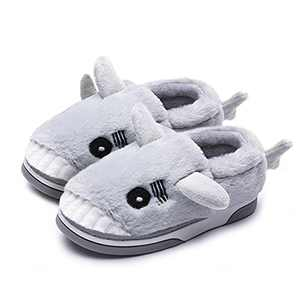 Toddler Boys Girls Warm Indoor House Shark Moose Slippers Grey007, 8.5-9 M US Toddler