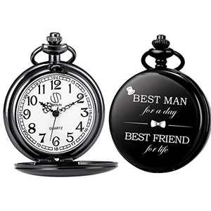 SIBOSUN Best Man for Wedding or Proposal - Engraved Best Man Pocket Watch - Wedding Black