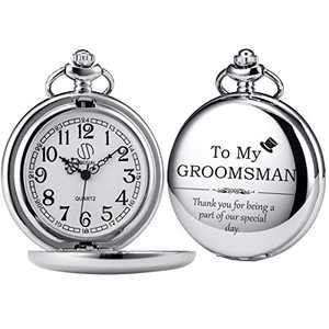 SIBOSUN Groomsmen for Wedding or Proposal - Engraved to My Groomsman Pocket Watch - Wedding Silver