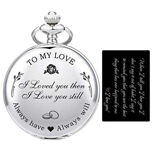 """SIBOSUN Pocket Watch Wife to Husband Girlfriend to Boyfriend, Engraved""""to My Love"""" Pocket Watch - I Loved You Then, I Love You Still, Valentine's Day for Silver +"""" I Love You"""" Card"""