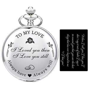 "SIBOSUN Pocket Watch Wife to Husband Girlfriend to Boyfriend, Engraved""to My Love"" Pocket Watch - I Loved You Then, I Love You Still, Valentine's Day for Silver +"" I Love You"" Card"