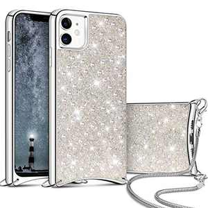 Aemotoy for iPhone 11 Luxury Shiny Rhinestone Case with Crossbody Chain Slim Glitter Diamond Shell Crystal Protective Hybrid Soft TPU Armor Back Cover for 6.1 inch iPhone 11 White