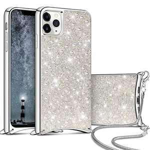 Aemotoy for iPhone 11 Pro Luxury Shiny Rhinestone Case with Crossbody Chain Slim Glitter Diamond Shell Crystal Protective Hybrid Soft TPU Armor Back Cover for 5.8 inch iPhone 11 Pro White