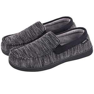 MERRIMAC Men's Cozy Knit Moccasin Slippers Coral Fleece Lined House Shoes With Removable Insole (9 M US, Black)
