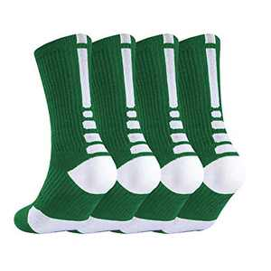 NANOOER 4 Pack Mens Basketball Socks Cushion Athletic Long Sports Outdoor Socks Compression Sock 6.5-11.5 (one size, 4 Pairs GreenType 5)