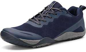 WHITIN Women's Minimalist Barefoot Shoes Low Zero Drop Trail Running Camping Size 5.5 6 Wide Toe Box for Female Lady Fitness Gym Workout Sneaker Tennis Cross Trainning Trainer Dark Navy Blue 36