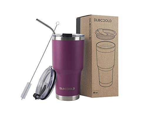 DLOCCOLD 30oz Tumbler Double Wall Stainless Steel Vacuum Insulated Coffee Travel Mug with Lid and Straw (Purple,30oz)