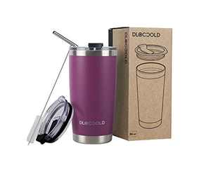DLOCCOLD 20oz Tumbler Double Wall Stainless Steel Vacuum Insulated Coffee Travel Mug with Lid and Straw (Purple,20oz)