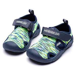 HOBIBEAR Boys Water Shoes Quick Dry Breathable Aqua Kids Sport Sandals Beach Swim Pool Water Park (Green,11.5 Little Kid)