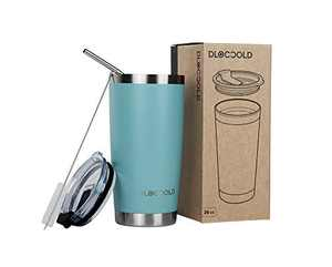 DLOCCOLD 20oz Tumbler Double Wall Stainless Steel Vacuum Insulated Coffee Travel Mug with Lid and Straw (Tiffany Blue, 20oz)