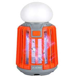 Zacro Camping Lantern & Mosquito Killer Tent Lamp 2 in 1, Bug Zapper Camping Lamp with 2000 mAh Rechargeable Battery, Portable and IPX6 Waterproof, Retractable Hook and Removable Lampshade