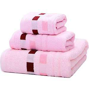 Amineders Luxury Ultra Soft Bamboo 3-Piece Washcloth Towel Set-Soft Absorbent and Eco-Friendly Skin Friendly for Bathroom Hotel Spa Kitchen Face Cloths (Plaid Pink)